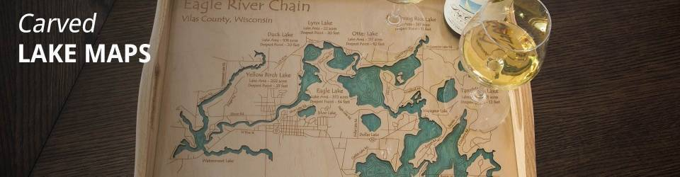 D wood lake maps lakehouse gifts decor