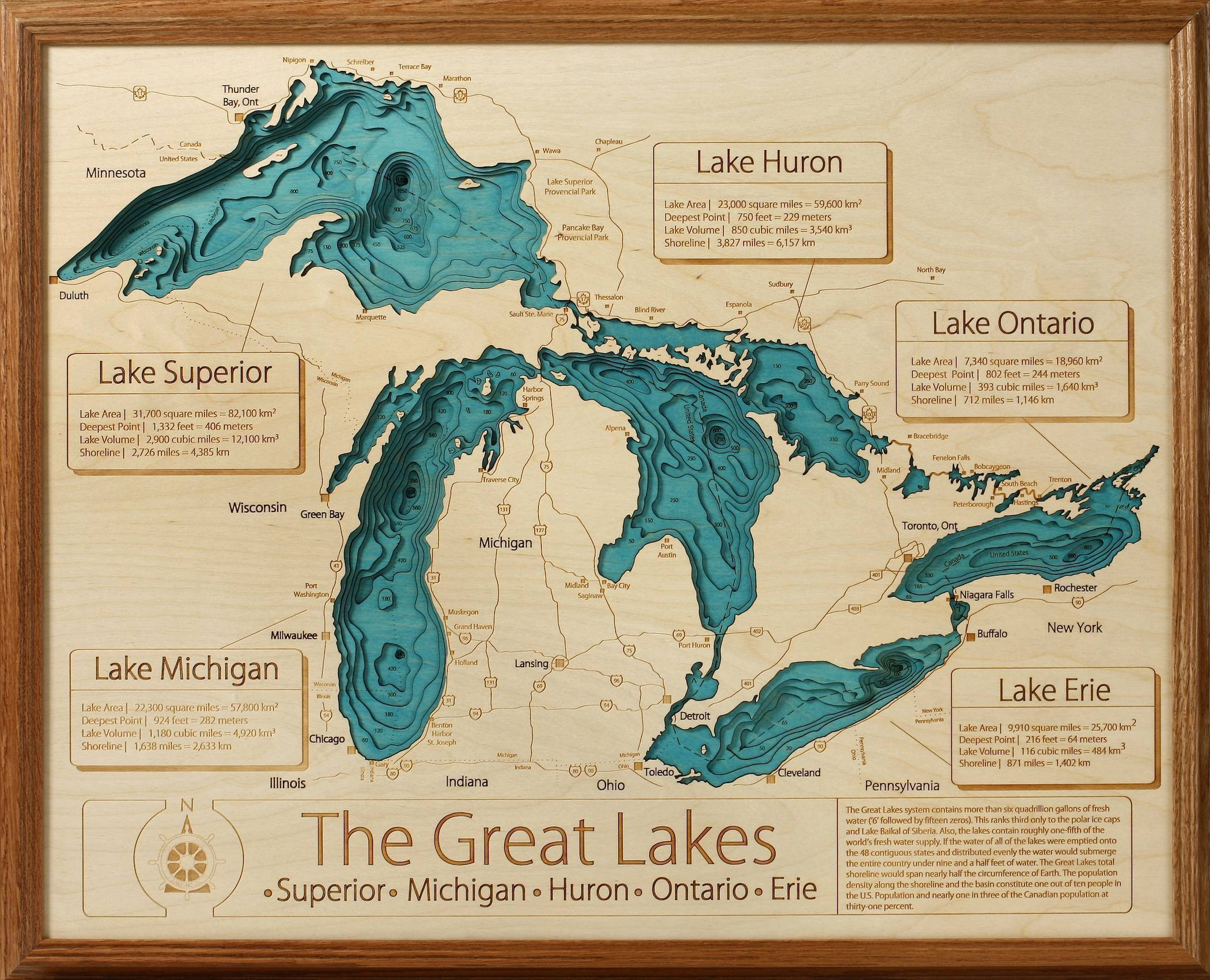 D LaserCarved Wood Lake Maps Lakehouse Lifestyle - Us topographic map 3d