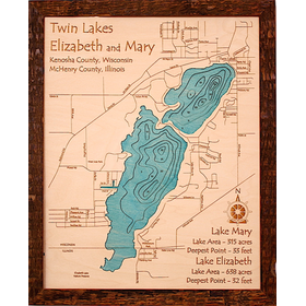 Carved wood lake map