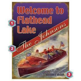 Vintage Boat Lake Sign