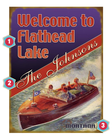 Vintage Boat Lake Sign
