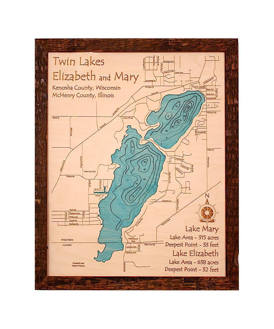 3D Wood Carved Lake Maps