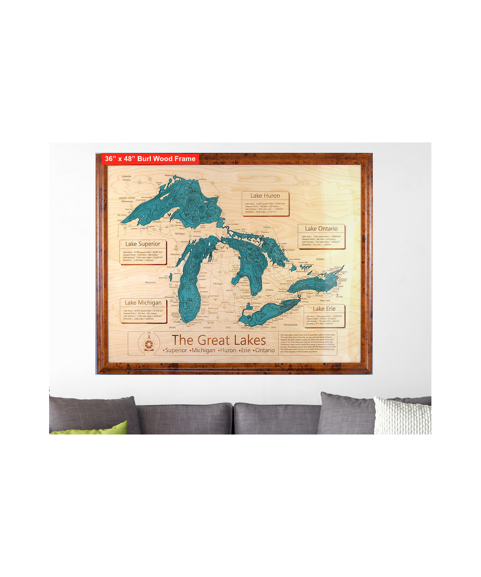 Map X.3d Wood Carved Lake Maps
