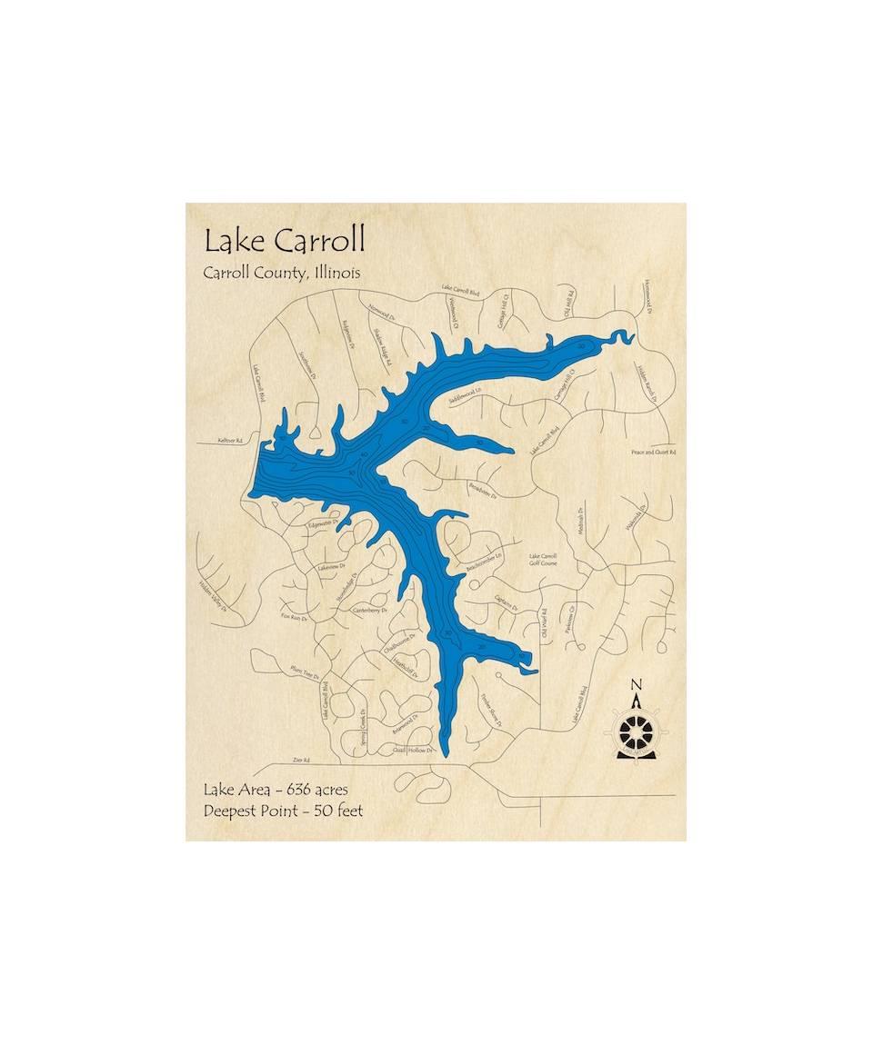 lake carroll il map Lake Carroll 3d Wood Carved Lake Map lake carroll il map